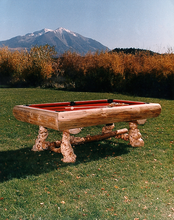 Custom Pool Table outside with Mt. Sopris in background