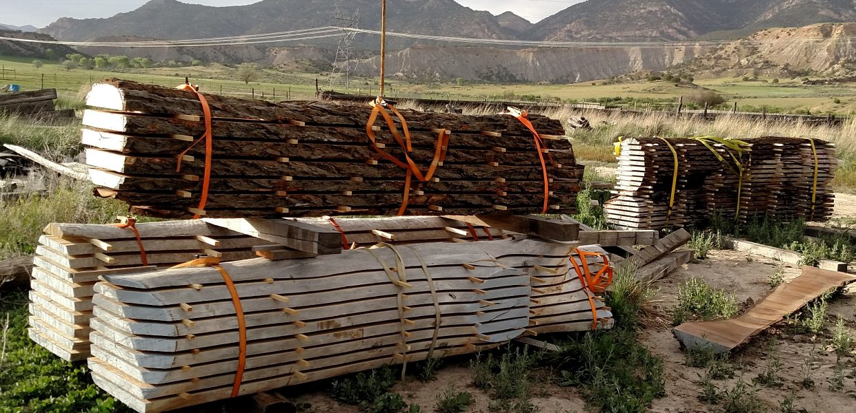 Wood Slabs stacked outside