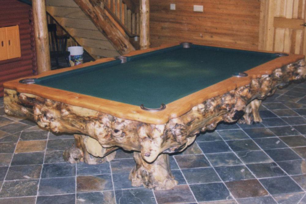 Burl Pool Table by Roaring Fork Custom Billiards