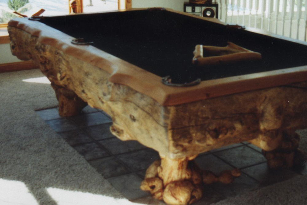 Burl Pool Table by Roaring Fork Custom Billiards
