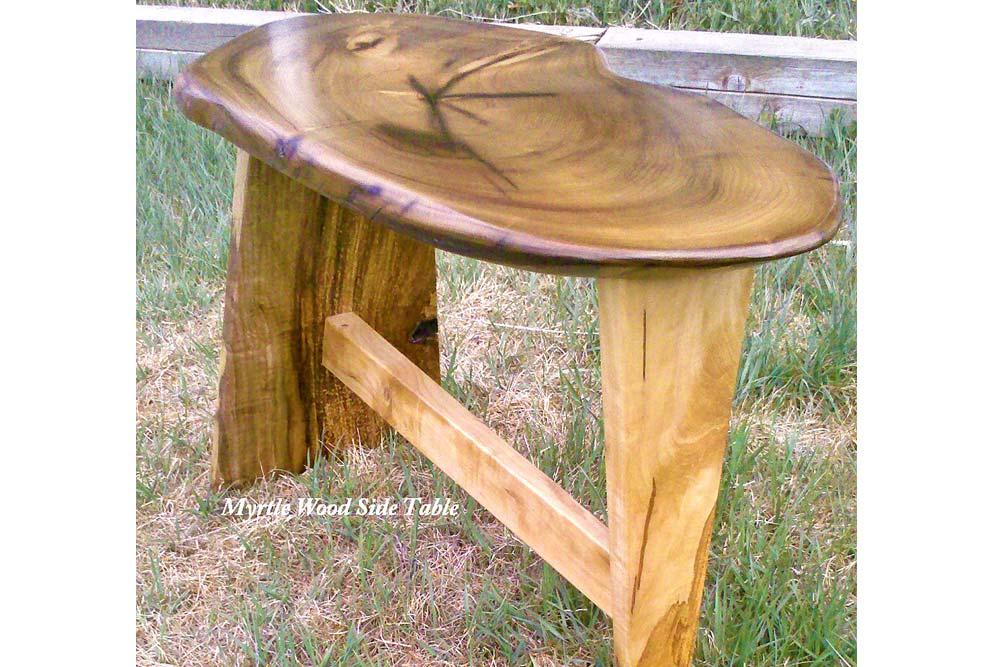 Custom Myrtle Wood Side Table