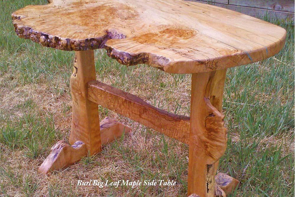 Custom Burl Big Leaf Maple Side Table