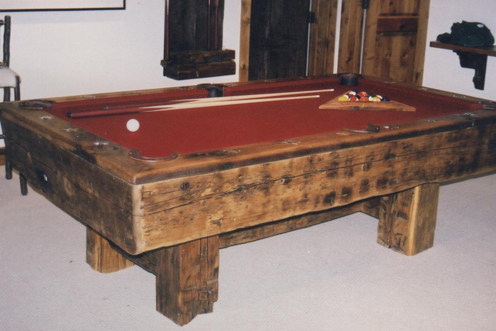 Reclaimed Timber Pool Table by Roaring Fork Custom Billiards